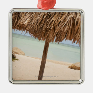 Aruba, palapa on beach christmas ornament