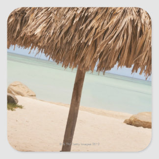 Aruba, palapa on beach square sticker