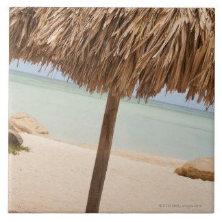 Aruba, palapa on beach tile