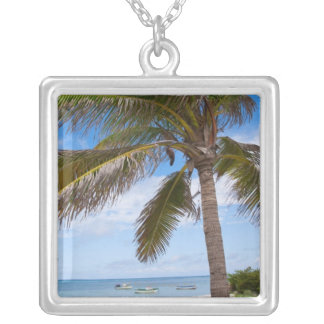 Aruba, palm tree on beach silver plated necklace