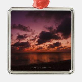 Aruba, sea at sunset Silver-Colored square decoration