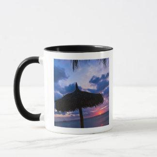 Aruba, silhouette of palapa on beach at sunset 2 mug