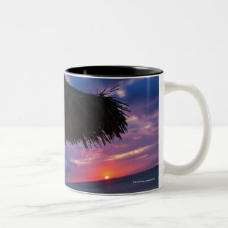 Aruba, silhouette of palapa on beach at sunset 2 Two-Tone coffee mug