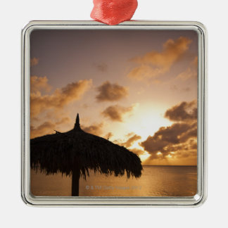 Aruba, silhouette of palapa on beach at sunset christmas ornament