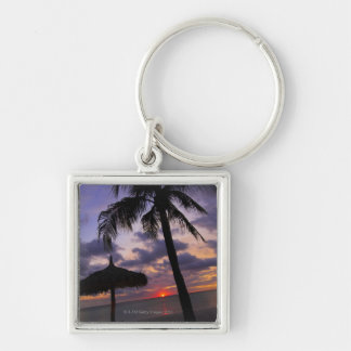 Aruba, silhouette of palm tree and palapa on key ring