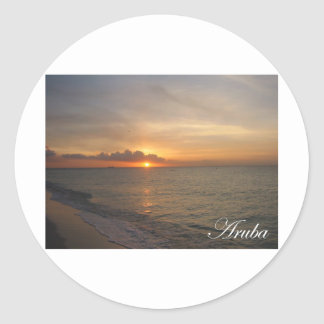 Aruba Sunset 2 Classic Round Sticker