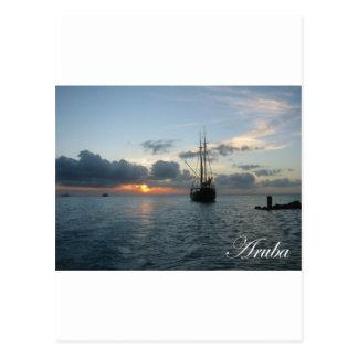 Aruba Sunset - Boat Postcard