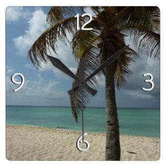 Aruban Beach I Beautiful Nature Scene Square Wall Clock