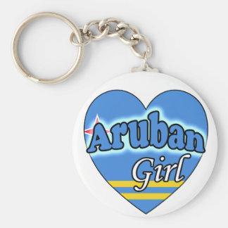 Aruban Girl Basic Round Button Key Ring