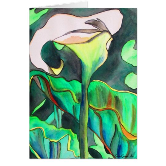 Arum Lily watercolor original art painting Card