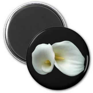 Arum White Lilies 6 Cm Round Magnet