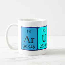 Mug featuring the name Arunas spelled out in symbols of the chemical elements