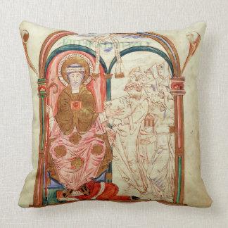 Arundel 155 f.133 Monks of Christchurch, Canterbur Throw Pillows
