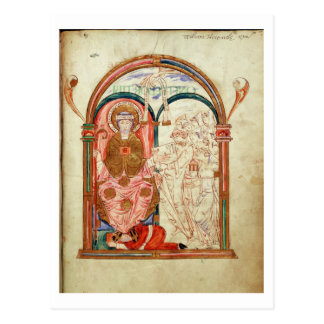 Arundel 155 f.133 Monks of Christchurch, Canterbur Postcard