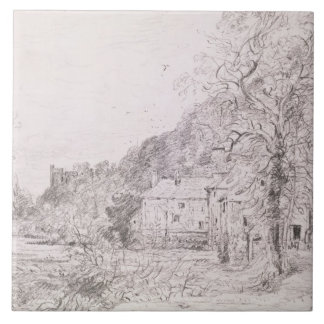 Arundel Mill and Castle, 1835 (drawing) Large Square Tile