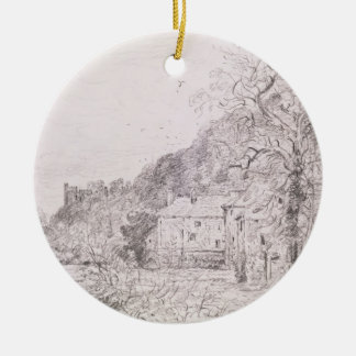 Arundel Mill and Castle, 1835 (drawing) Round Ceramic Decoration