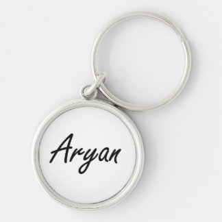 Aryan Artistic Name Design Silver-Colored Round Key Ring