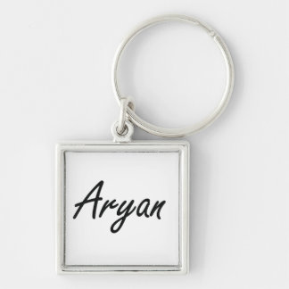 Aryan Artistic Name Design Silver-Colored Square Key Ring