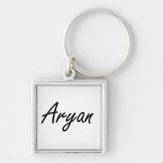 Aryan Artistic Name Design Silver-Colored Square Key Ring