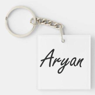 Aryan Artistic Name Design Single-Sided Square Acrylic Key Ring