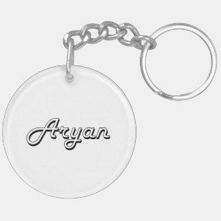 Aryan Classic Retro Name Design Double-Sided Round Acrylic Key Ring