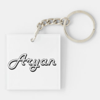 Aryan Classic Retro Name Design Double-Sided Square Acrylic Key Ring