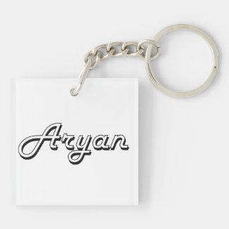 Aryan Classic Retro Name Design Double-Sided Square Acrylic Key Ring