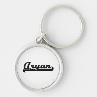 Aryan Classic Retro Name Design Silver-Colored Round Key Ring