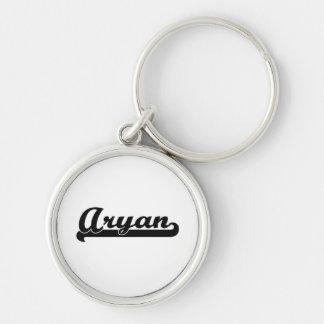 Aryan Classic Retro Name Design Silver-Colored Round Key Ring
