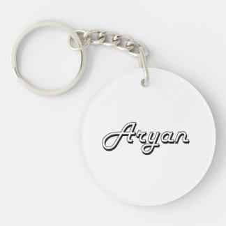 Aryan Classic Retro Name Design Single-Sided Round Acrylic Key Ring
