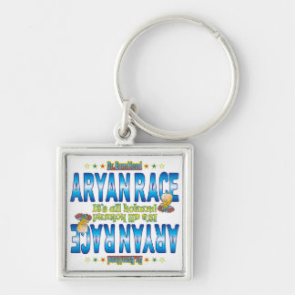 Aryan Race Dr. B Head Silver-Colored Square Key Ring