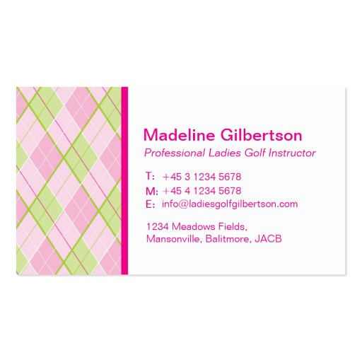 Arygle pattened ladies golf business cards