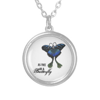As free as a Butterfly Peacock Butterbird Feelings Round Pendant Necklace