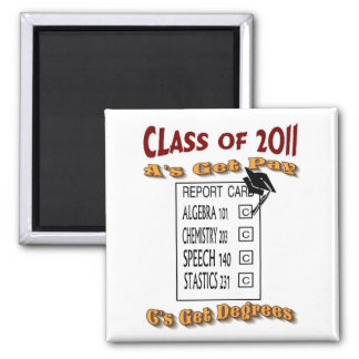 A's Get Pay C's Get Degrees Class of 2011 Square Magnet