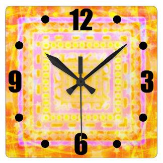 As Girly As It Gets Pretty Bokeh Pink Gold Boho Square Wall Clock