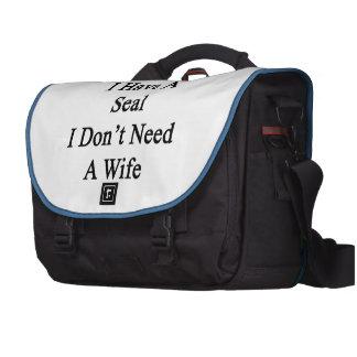As Long As I Have A Seal I Don't Need A Wife Laptop Messenger Bag