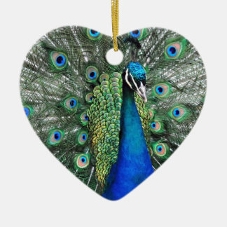 As Proud as a Peacock Ceramic Heart Decoration