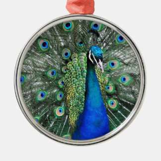 As Proud as a Peacock Silver-Colored Round Decoration