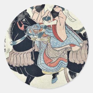 As Satsumanokami Tadanori by Utagawa,Kuniyasu Classic Round Sticker