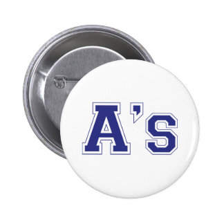 A's square logo in blue 6 cm round badge
