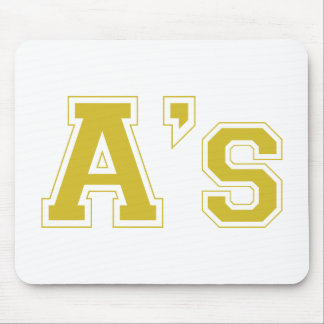 A's square logo in gold mouse pad