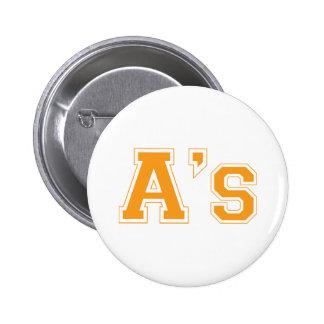 A's square logo in orange 6 cm round badge