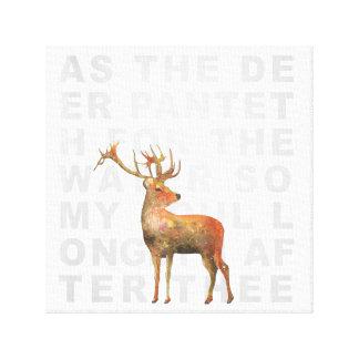 As the Deer Hymn Watercolor Deer Scripture Canvas
