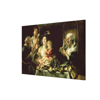 As the Old Sing, so the Young Pipe, 1638 Canvas Print