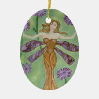 As Wise As The Dragonflies Art Ceramic Oval Decoration