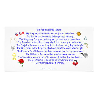 As You Await My Return  Freedom Poem with Graphics Photo Greeting Card