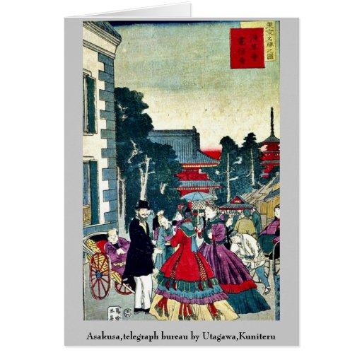 Asakusa,telegraph bureau by Utagawa,Kuniteru Card