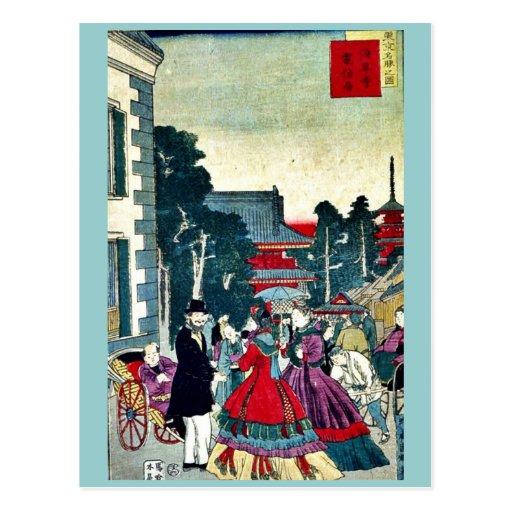 Asakusa,telegraph bureau by Utagawa,Kuniteru Post Cards