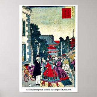 Asakusa,telegraph bureau by Utagawa,Kuniteru Poster