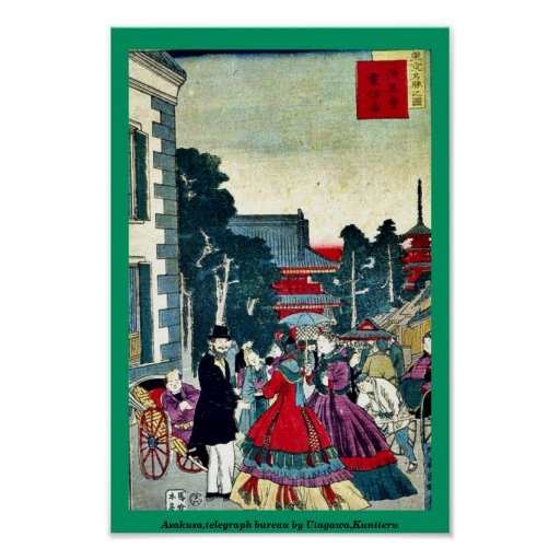 Asakusa,telegraph bureau by Utagawa,Kuniteru Print